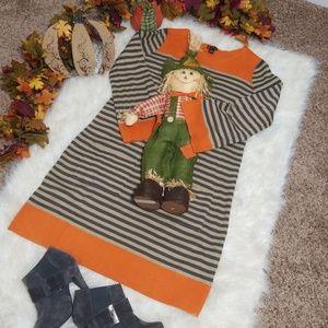 LS Sweater Dress L Stripe New Directions